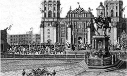 Recreación de la entrada del Ejército Trigarante al Zócalo de la Ciudad de México, el 27 de septiembre de 1821
