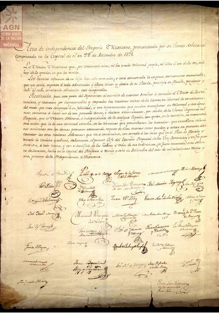 Acta de la Independencia de México, cuyo original se encuentra en el ...