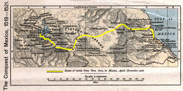 Mapa de la ruta de Hern?n Cortes