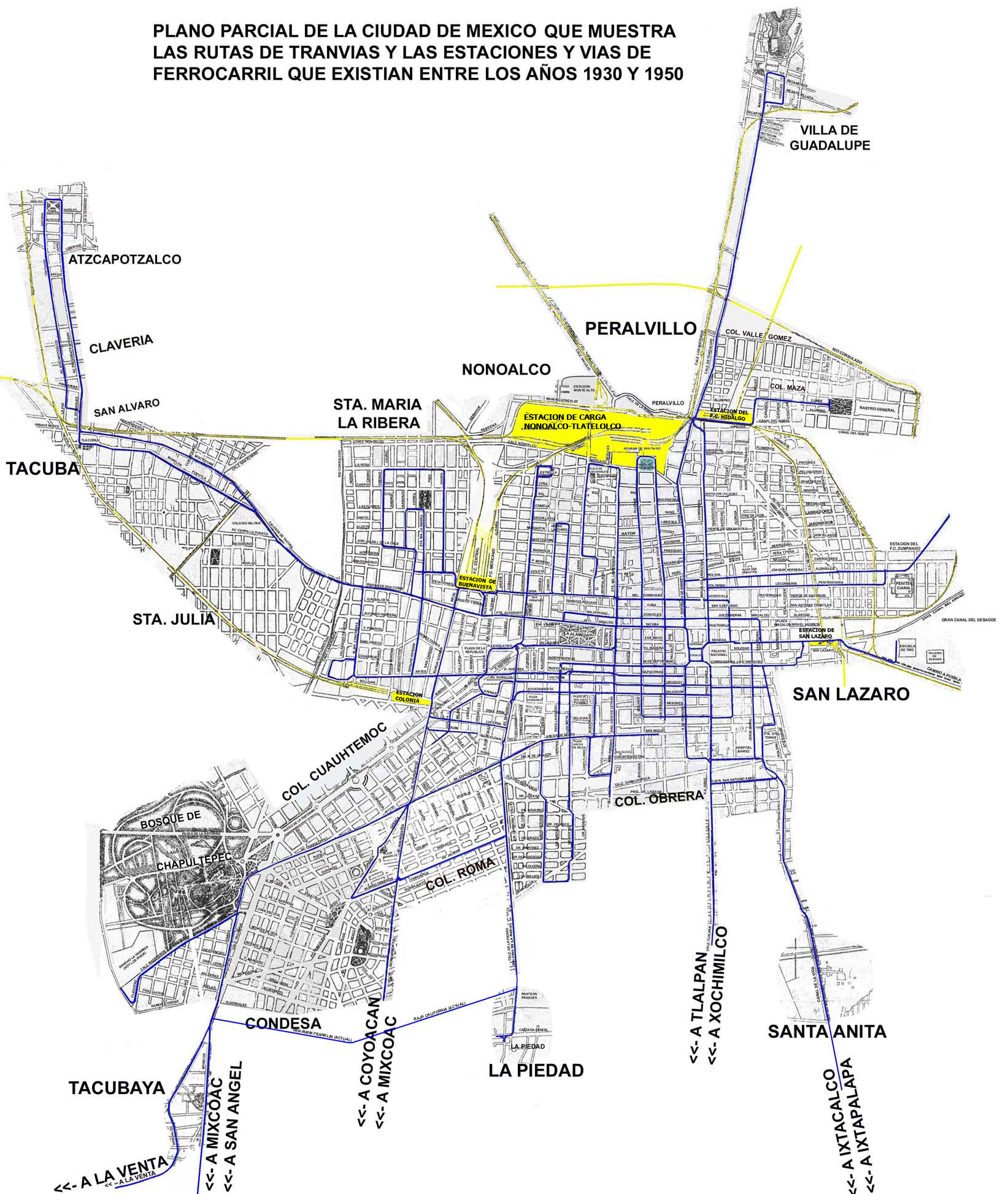 MAPA DE LA CIUDAD DE MEXICO EN 1930, con rutas de tranvías y ...