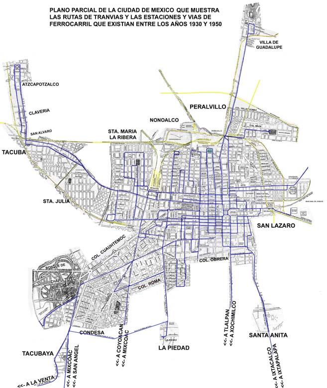MAPA DE RUTAS DE TRANVIAS DE LA CIUDAD DE MEXICO, 1930-1950